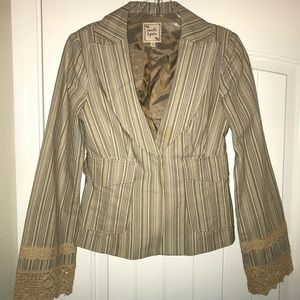 Nanette Lepore jacket, striped with lace, Size 4